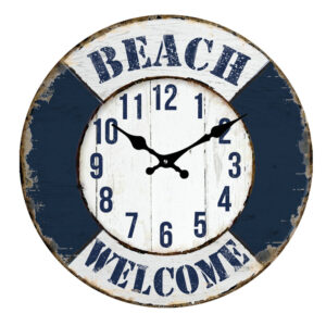 Clock French Country Wall Clocks 30cm BEACH WELCOME