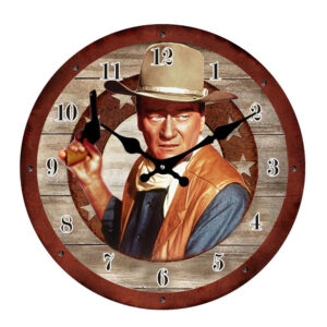 Clock French Country Wall Clocks 17cm JOHN WAYNE Small Glass