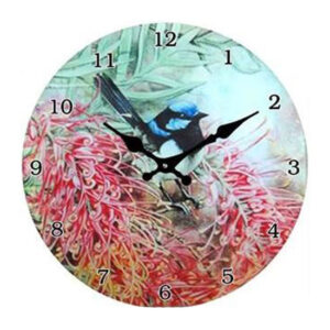 Clock French Country Wall Small Clocks 17cm BLUE WREN BOTTLEBRUSH