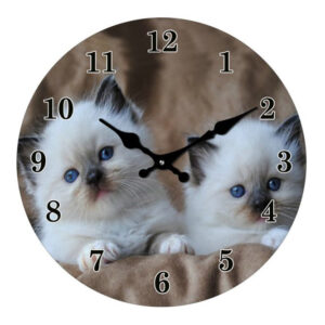 Clock French Country Wall Clocks 30cm KITTEN CATS Glass