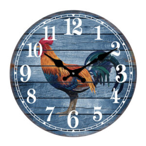 Clock French Country Wall Clocks 30cm BLUE ROOSTER Glass