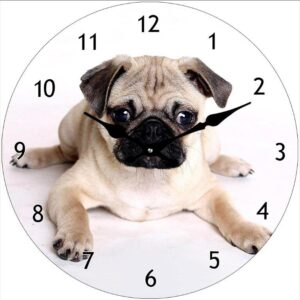 Clock French Country Wall Small Clocks 17cm CUTE PUG DOG