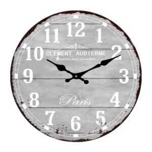 Clock French Country Wall Clocks 38cm Grey PARIS Glass