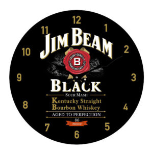Clock French Country Wall Small Clocks 17cm JIM BEAM BLACK ALCOHOL