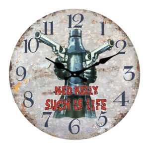 Clock French Country Wall Clocks 17cm NED KELLY Such is Life Small