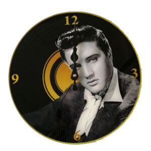 Clock French Country Wall Clocks 30cm ELVIS PRESLEY Gold Record Glass