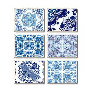 Country Kitchen VINTAGE BLUES Cinnamon Cork Backed Coasters Set 6
