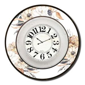 Clock Country Vintage Inspired Wall Large BARN OWL FLORAL 60cm