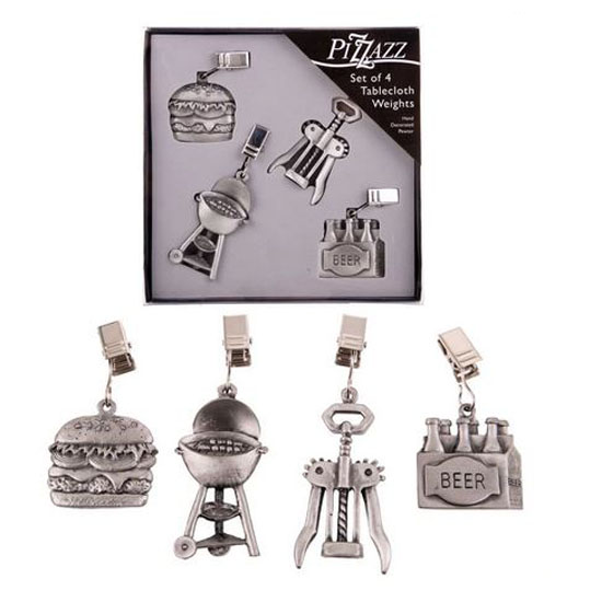 D.Line Pewter Tablecloth Weights BBQ COOKING Set of 4 for Outdoors