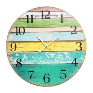 Clocks Wall Hanging Rustic Citrus Boards 58cm Clock Large Numbers