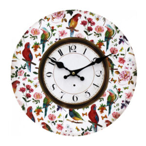 Clocks Wall Hanging Vintage Looking Parrots Time Clock 34cm
