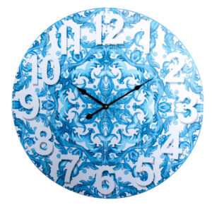 Clocks Wall Hanging Santorini Blue 58cm Clock Large Numbers