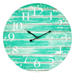 Clocks Wall Hanging Teal Green 58cm Clock Large Numbers