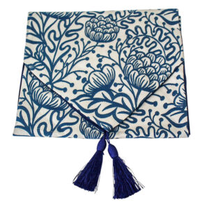 French Country Table Runner BLUE PROTEA with Tassels 33x180cm