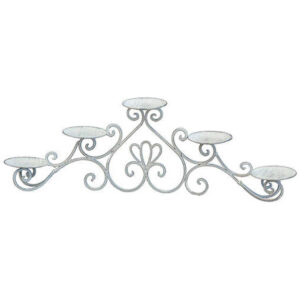 French Country Vintage Inspired Candle Holder Candelabra Whitewash Metal