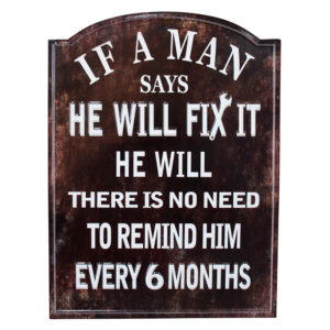 Country Metal Tin Sign Wall Art MAN FIX IT Plaque Enamel Raised Letters