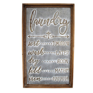 Country Metal Tin Sign Wall Art Laundry Plaque Galvanised Raised Letters