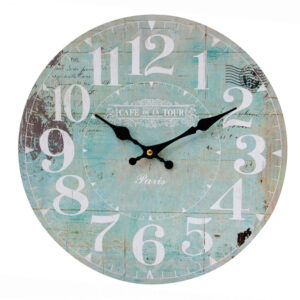 Clocks Wall Hanging CAFE DE LA TOUR MIST Time Clock 34cm