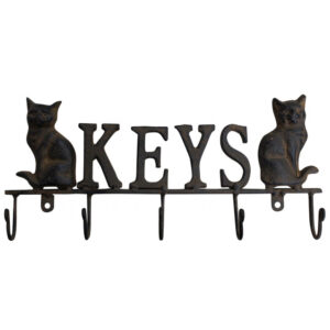 French Country Vintage Wall Art Keys Hooks Cats Hanger Wrought Iron
