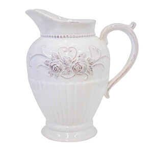 French Country Farmhouse Kitchen WHITE JUG ROSES China Pearl White