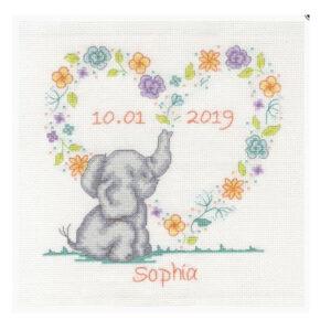 DMC Counted Cross Stitch Kit ELEPHANT BABY NAME SAMPLER Inc Thread
