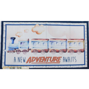 Patchwork Quilting Sewing Fabric TRAIN ADVENTURE Panel 60x110cm