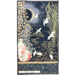 Patchwork Quilting Sewing Fabric IMPERIAL CRANES JAPANESE Panel 60x110cm