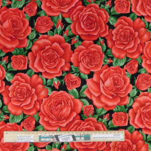 Patchwork Quilting Sewing Fabric GLITTER RED ROSES 50x55cm FQ New