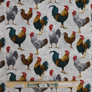 Patchwork Quilting Sewing Fabric ROOSTER NEWS 50x55cm FQ New