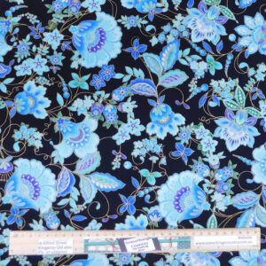 Patchwork Quilting Sewing Fabric METALLIC BLUE FLOWERS 50x55cm FQ New