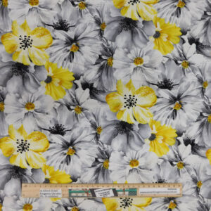 Patchwork Quilting Sewing Fabric YELLOW GREY BLOOMS 50x55cm FQ New