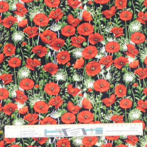 Patchwork Quilting Sewing Fabric LOTS OF POPPIES 50x55cm FQ New