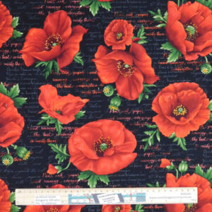 Patchwork Quilting Sewing Fabric LARGE POPPIES 50x55cm FQ New