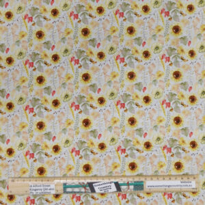 Patchwork Quilting Sewing Fabric SUNFLOWERS LIGHT 50x55cm FQ New