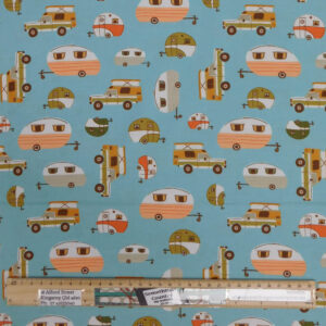 Patchwork Quilting Sewing Fabric BLUE CARAVANS 50x55cm FQ New