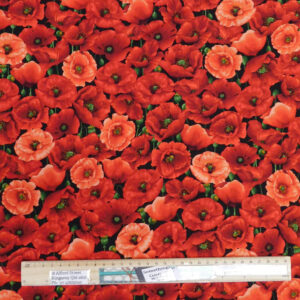 Patchwork Quilting Sewing Fabric POPPIES ALLOVER 50x55cm FQ New