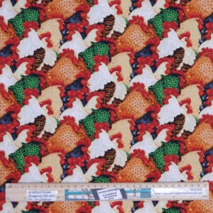 Patchwork Quilting Sewing Fabric FARM RAISED CHICKENS 50x55cm FQ New