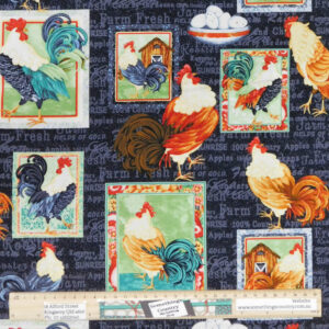 Patchwork Quilting Sewing Fabric FARM RAISED ROOSTERS 50x55cm FQ New
