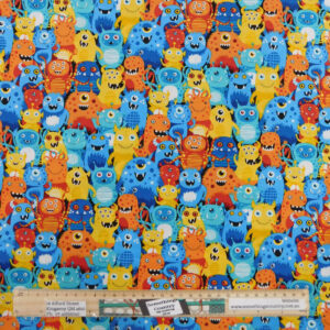 Quilting Sewing Fabric ALIEN MONSTERS Allover Material 50x55cm FQ