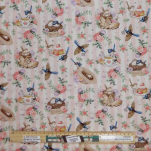 Quilting Sewing Fabric LITTLE WREN COTTAGE PINK Allover Material 50x55cm FQ