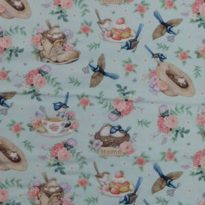 Quilting Sewing Fabric LITTLE WREN COTTAGE BLUE Material 50x55cm FQ