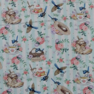 Quilting Sewing Fabric LITTLE WREN COTTAGE BLUE STRIPE Material 50x55cm FQ
