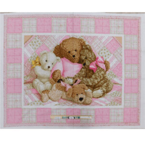 Patchwork Quilting Sewing Fabric TEDDY BEAR PINK Panel 90x110cm