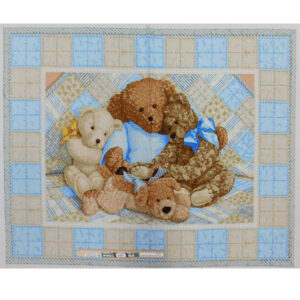 Patchwork Quilting Sewing Fabric BLUE TEDDY BEAR Panel 90x110cm
