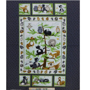Patchwork Quilting Sewing Fabric WOODLANDS ANIMALS Panel 90x110cm
