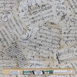 Quilting Sewing Fabric SHEET MUSIC Allover Material 50x55cm FQ