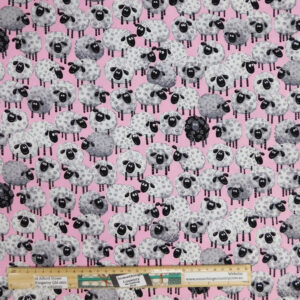 Quilting Sewing Fabric SUSYBEE PINK SHEEP Allover Material 50x55cm FQ