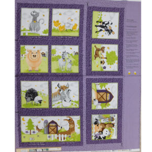 Patchwork Quilting Sewing Fabric FARMYARD BOOK Panel 90x110cm