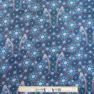 Quilting Sewing Fabric ABORIGINAL BUSH TUCKER BLUE Allover Material 50x55cm FQ