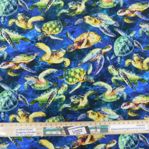 Quilting Sewing Fabric THE REEF TURTLES Allover Material 50x55cm FQ